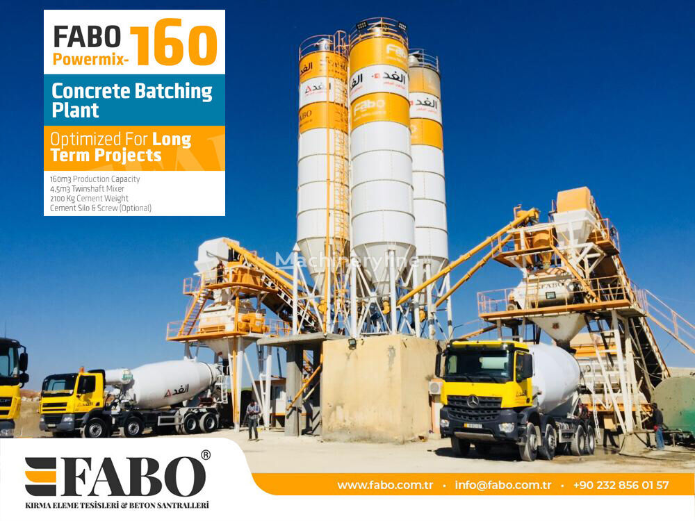 нов бетонов възел Fabo Powermix-160 Стационарная Бетоносмесительная Установка